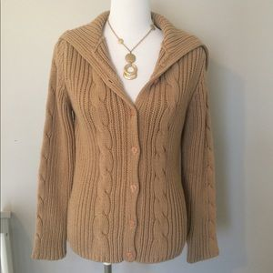 THE LIMITED Camel Chunky Cable Knit Cardigan